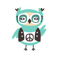 Cute cartoon owl bird with peace sign on its cloth colorful character vector Illustration