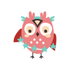 Dizzy cartoon owl bird colorful character vector Illustration