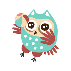 Cute cartoon owl bird playing a ball colorful character vector Illustration