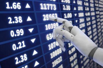 Robot touching interactive stock market chart