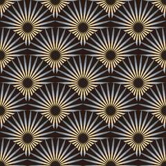 fans of spiked flowers seamless tile in ivory and black