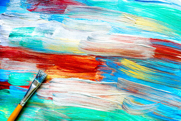 abstract pattern with multicolored oil paintings with brushes texture