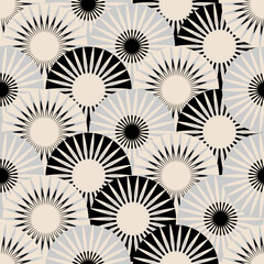 asian style fans flowers seamless tile in silver shades