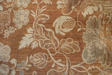 Reddish brown denim cotton fabric with floral print