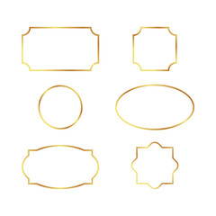 Set of simple gold frames isolated on white background. Border, divider, label for your design menu, website, sertificate and other documents