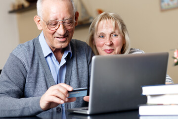 Senior couple, with laptop, shopping on line at home.