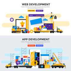 Flat design concept banner - Apps and Web Development