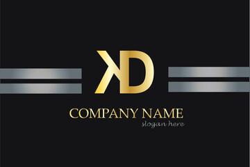 KD Letter Logo Design in Golden Color