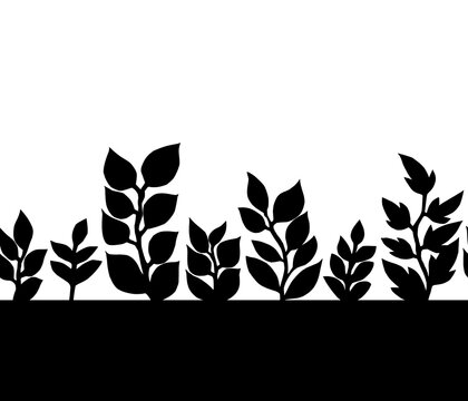 Black and white leaves silhoettes seamless border pattern, vector