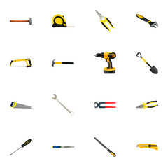 Realistic Wrench, Claw, Handle Hit Vector Elements. Set Of  Realistic Symbols Also Includes Emery, Spade, Hammer Objects.