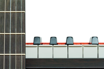 Piano keys and a fragment of neck of a guitar front view on a white background, closeup