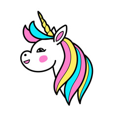 White unicorn vector head with rainbow mane and horn. Vector unicorn on white background. Cartoon, linear, patch style.