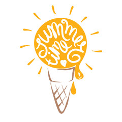 Abstract ice cream, Summer time/Funny summer hand drawing calligraphy