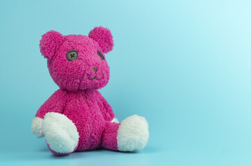 pink bear doll on blue background