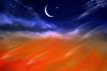 Red sunset and moon  Eid Mubarak background  .  Against the background of clouds . beautiful sky .