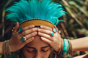attractive young woman with boho headdress