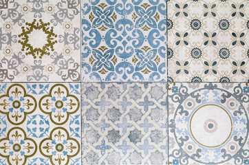 Beautiful old ceramic tile patterns in the park public.