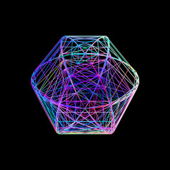 Sphere carcass framework. Isolated on black background. Vector colorful illustration.
