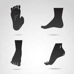 Human leg, foot vector icon.