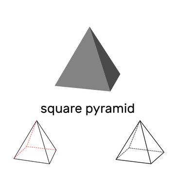 Square pyramid. Geometric shape. Isolated on white background. Vector illustration.