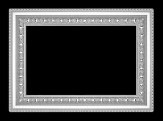 silver picture frame isolated on black  background