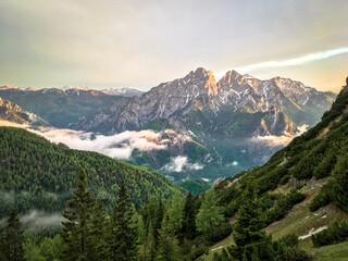 Idyllic Alpenglow in National Park Gesäuse, Styria, Austria