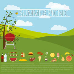 Grill in the nature for a summer picnic, a set of food and snacks and space for text mockup