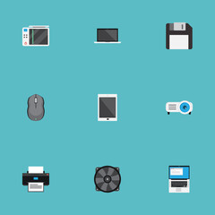 Flat Palmtop, Cooler, Monitor And Other Vector Elements. Set Of Computer Flat Symbols Also Includes Cooler, Play, Mouse Objects.
