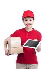 Beautiful young delivery woman in red t-shirt on white background