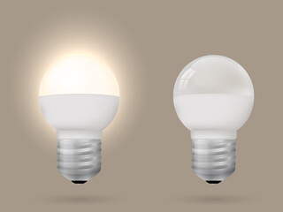 Energy-saving lighted and switched off light bulb. Vector illustration.