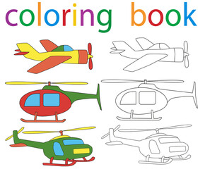book coloring helicopter airplane set
