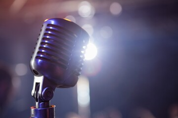 Retro microphone at a concert