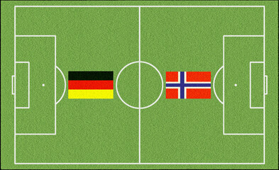 Soccer game Norway vs Germany with flags