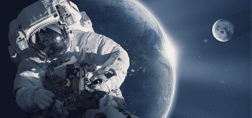 Fotorolgordijn Nasa Astronaut in outer space against the backdrop of the planet earth. Elements of this image furnished by NASA.