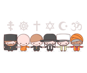 Cute characters. Judaism Rabbi. Buddhism Monk. Hinduism Brahman. Catholicism Priest. Christianity Holy father. Islam Muslim. Religion vector symbols. Friendship and peace for different creeds.