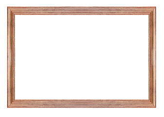Wooden vintage picture frame isolated on white background