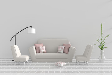 Living room in relax day. Decor with sofa, two armchair, pink-white pillow, white lamp, tree in vase, grid cement wall and tile floor. The sun shines through the window into the shadows. 3D render.