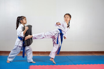 Two little girls demonstrate martial arts working together