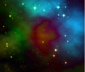 Space galaxy vector background. Realistic illustration
