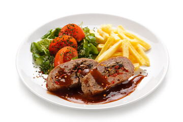 Stuffed meat with french fries