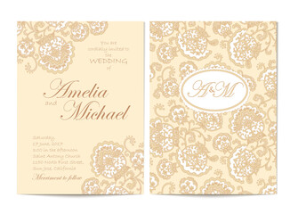Search photos invitation card elegant wedding invitation card template in beige colors flyer decorated with ornamental flower greeting stopboris Image collections
