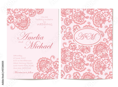 elegant wedding invitation card template in pink colors flyer decorated with ornamental flower. Black Bedroom Furniture Sets. Home Design Ideas