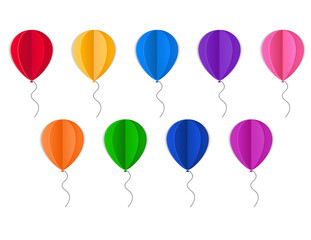 illustration with paper colored balloons on white background