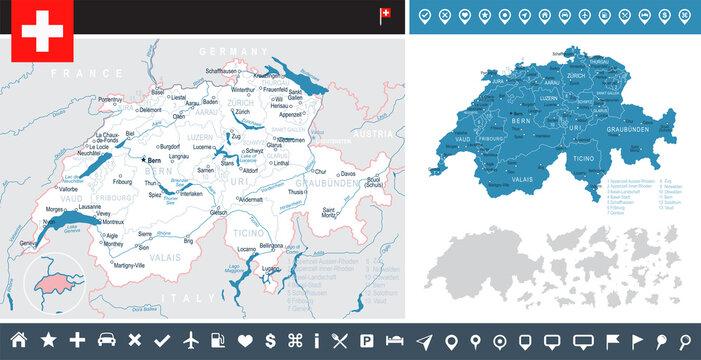 Switzerland - map and flag – infographic illustration