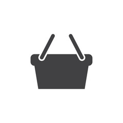 Shopping basket icon in black on a white background. Vector illustration