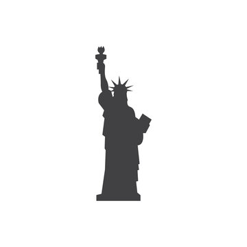 Liberty statue icon in black on a white background. Vector illustration