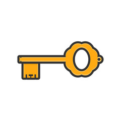 old key icon, line art