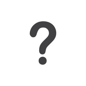 Question mark icon in black on a white background. Vector illustration
