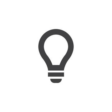 Lightbulb icon in black on a white background. Vector illustration