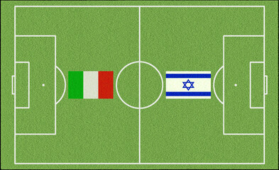 Soccer game field  Italy vs Israel with flags Soccer Game